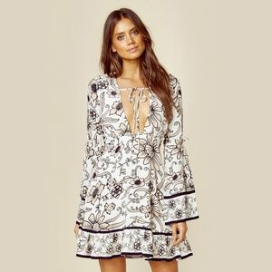 For Love and Lemons Floral Ayla Plunging Dress